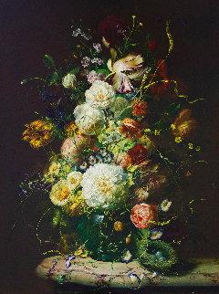 Bouquet of Flowers 39x33 Original Painting - Gyula Siska