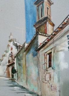 Vieja Calle Valencia Spain 37x27 Original Painting - Jaro Slavko