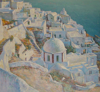 Santorini at Sunset Italy  1990 52x52 Original Painting - Jaro Slavko