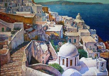 Santorini, Greece 1991 72x96 Super Huge Original Painting - Jaro Slavko