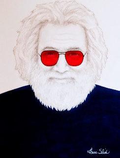 Untitled Portrait of Jerry Garcia 2009 37x31 Original Painting - Grace Slick