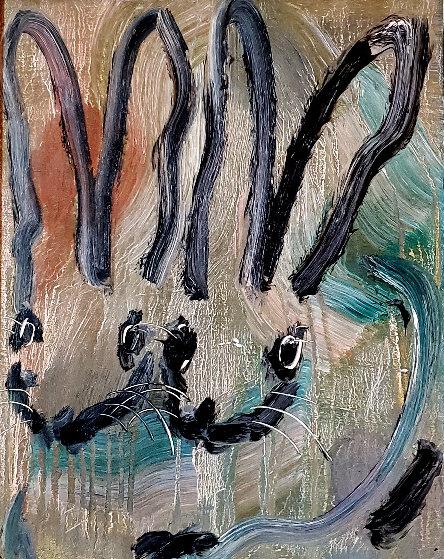 Untitled Rabbits 2014 24x20 Original Painting by Hunt Slonem