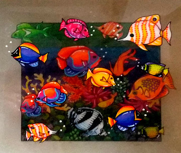 Creatures of the Sea 2001 3-D 7x7 Original Painting by Susannah MacDonald