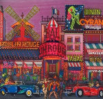 Moulin Rouge, Paris, France 3-D 2002 12x12 Original Painting - Susannah MacDonald