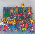 New York Shopping 2002 6x6 Original Painting - Susannah MacDonald