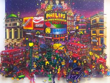 Piccadilly Circus, London 3-D 1998 21x25 Original Painting - Susannah MacDonald