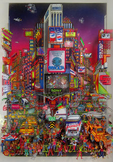 Times Square 3-D 22x17 Original Painting by Susannah MacDonald