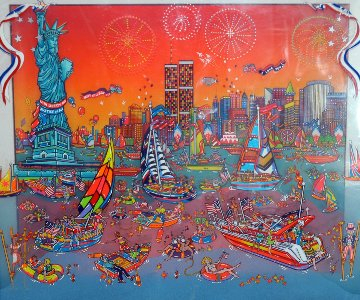 Fourth of July in the Harbor 3-D 1998 17x22  New York Original Painting - Susannah MacDonald