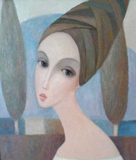 Cypress 2001 38x34 Original Painting - Sergey Smirnov