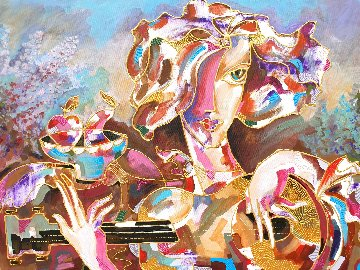 Lady With Guitar 2020 40x30 Huge  Original Painting - Igor Smirnov