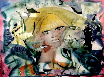 Self Portrait - Eyes Opened 1983 22x30 Watercolor - Andrea Smith
