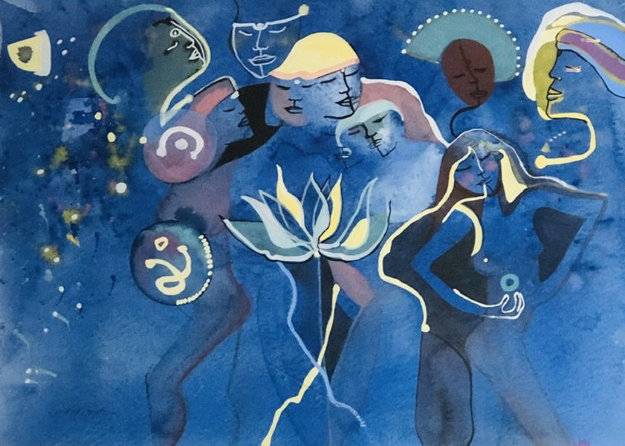 Lotus Rising Watercolor 1983 32x41 by Andrea Smith
