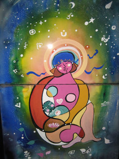 Mother of Love 1988  44x30 Super Huge Original Painting - Andrea Smith