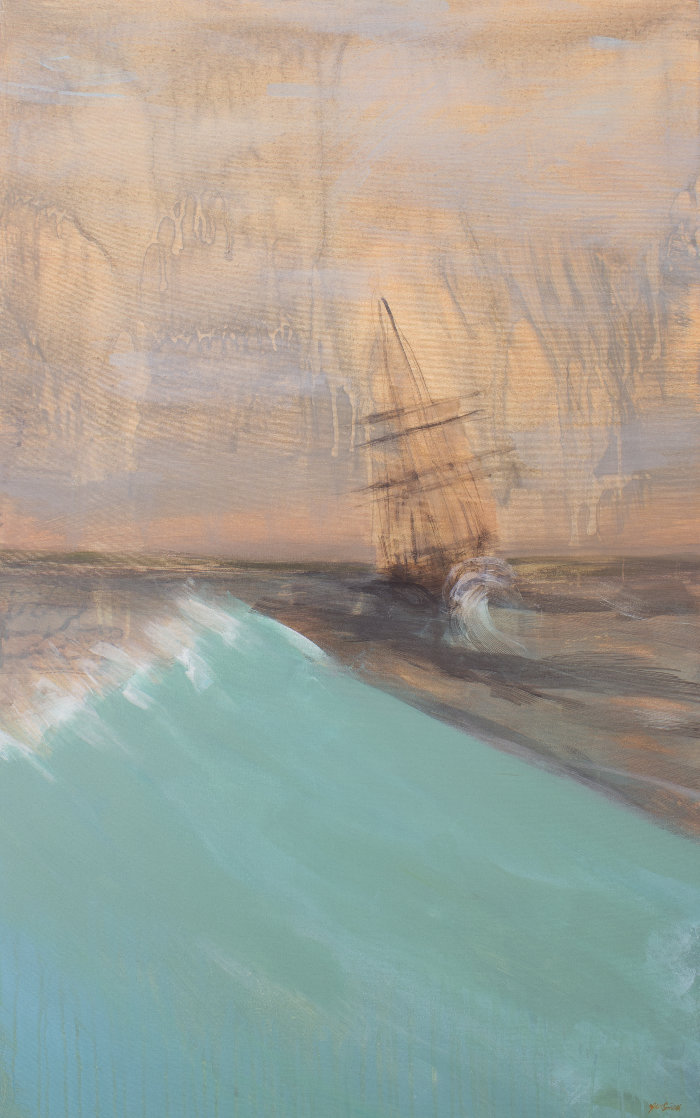 Amidst the Waves 48x30 Super Huge Original Painting by Jean  Smith