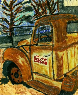 Rusty Coke Truck 2017 30x24 Original Painting - L.J. Smith