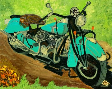 Aqua Indian 2017 24x30 Original Painting - L.J. Smith