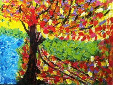 Autumn Confetti 2012 18x24 Original Painting - L.J. Smith