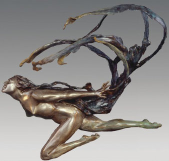 Wind Scarf Bronze Sculpture 25 in Sculpture by M. L. Snowden