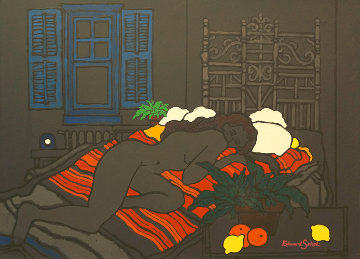 Untitled Painting (nude) 1980 36x46 Huge Original Painting - Edward Sokol