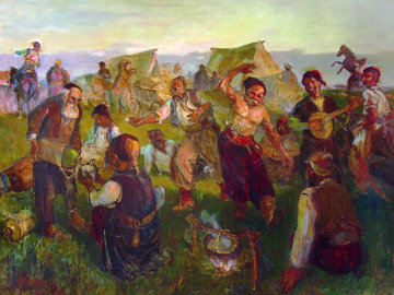 Cossack Festivities 33x43 Works on Paper (not prints) - Anatoly Sokolov