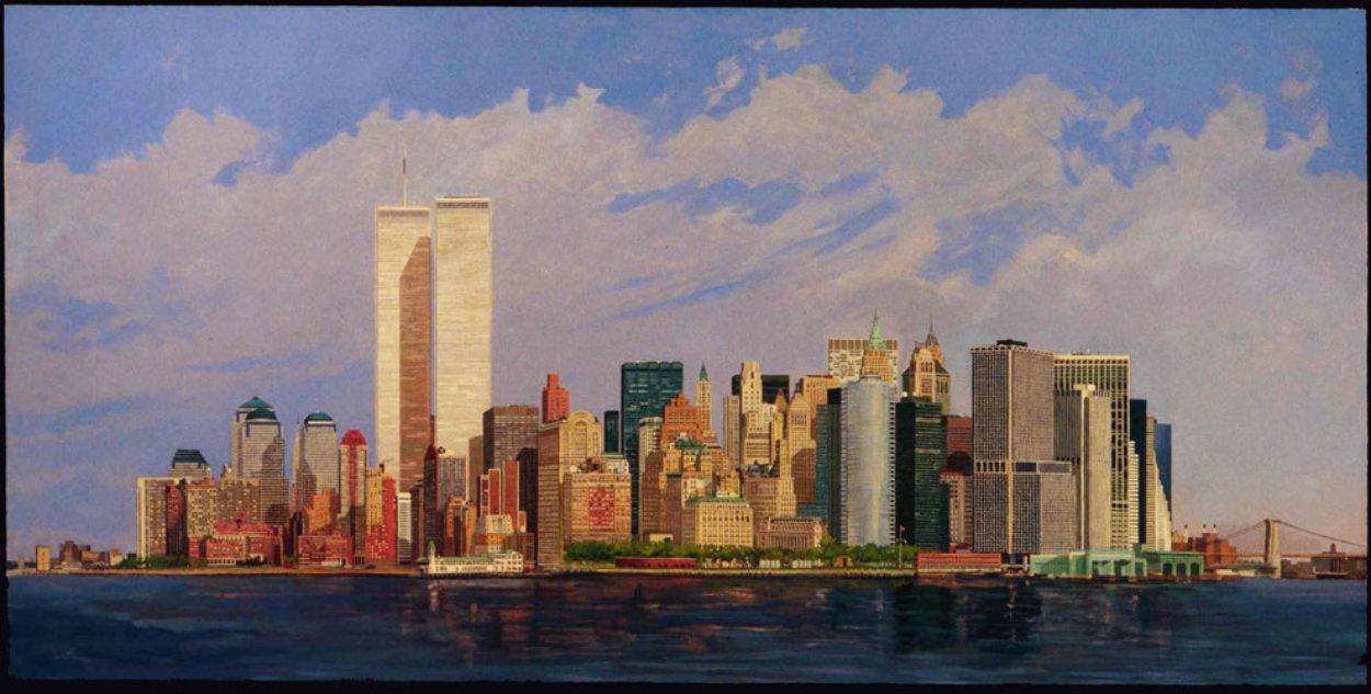 Manhattan Island 1998 40x80 New York Mural Original Painting by Robert Solotaire