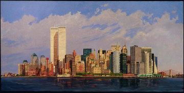 Manhattan Island 1998 40x80 New York Mural Original Painting - Robert Solotaire