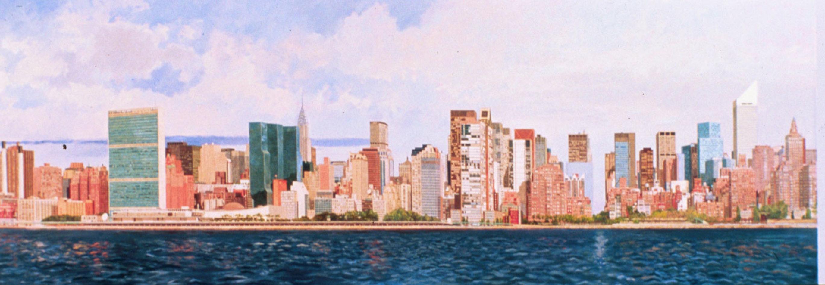 East Side Manhattan 2003 40x120 New York Mural Original Painting by Robert Solotaire
