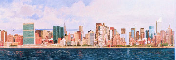East Side Manhattan 2003 40x120 New York Mural Original Painting - Robert Solotaire