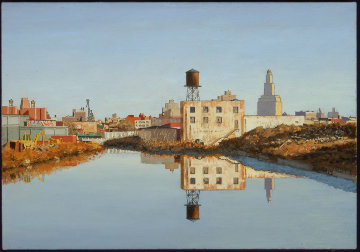 Gowanus Morning 2003 14x24 Original Painting - Robert Solotaire