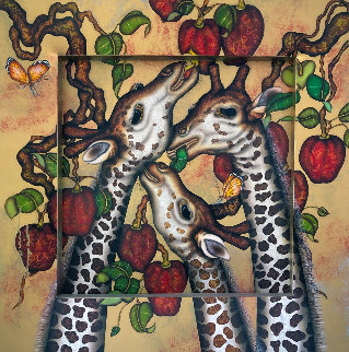 Gentle Giraffes 2008 44x44 Huge  Original Painting - Luis Sottil