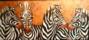 Zebras 2000 50x70 Huge Original Painting - Luis Sottil