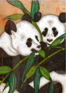 Pandas Original 2008 44x22 Huge Original Painting - Luis Sottil