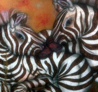 Zebras 1999 31x31 Original Painting - Luis Sottil