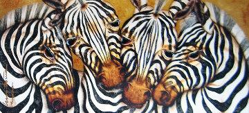 Captivating Harmony, Zebra 2005 33x55 Huge Original Painting - Luis Sottil