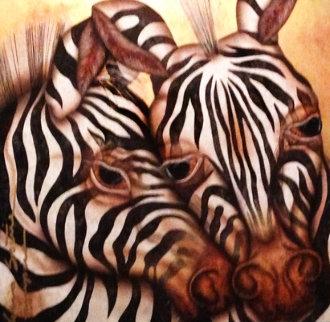 Camouflaged Serenity - Zebras 39x39 Original Painting - Luis Sottil