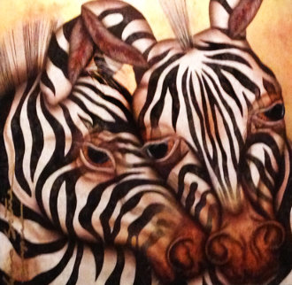 Camouflaged Serenity - Zebras 39x39 Original Painting by Luis Sottil