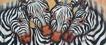 Captivating Harmony 2003 Zebras 41x69 Original Painting - Luis Sottil