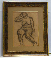 Seated Nude 1935 30x25 Works on Paper (not prints) by Raphael Soyer - 1