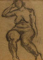 Seated Nude 1935 30x25 Works on Paper (not prints) by Raphael Soyer - 0