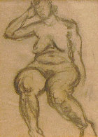 Seated Nude 1935 30x25 Works on Paper (not prints) by Raphael Soyer - 2