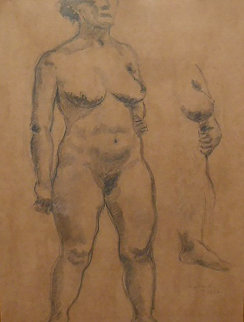 Standing Nude 1935 30x25 Works on Paper (not prints) - Raphael Soyer