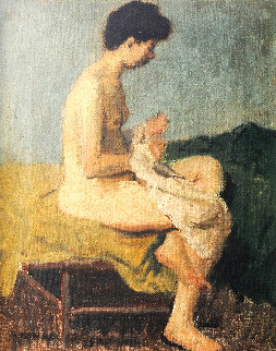Nude Woman on Bed 1949 17x14 Original Painting - Raphael Soyer