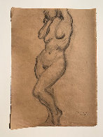 Nude  Drawing From the Artist Sketchbook 1935 24x19 Works on Paper (not prints) by Raphael Soyer - 1