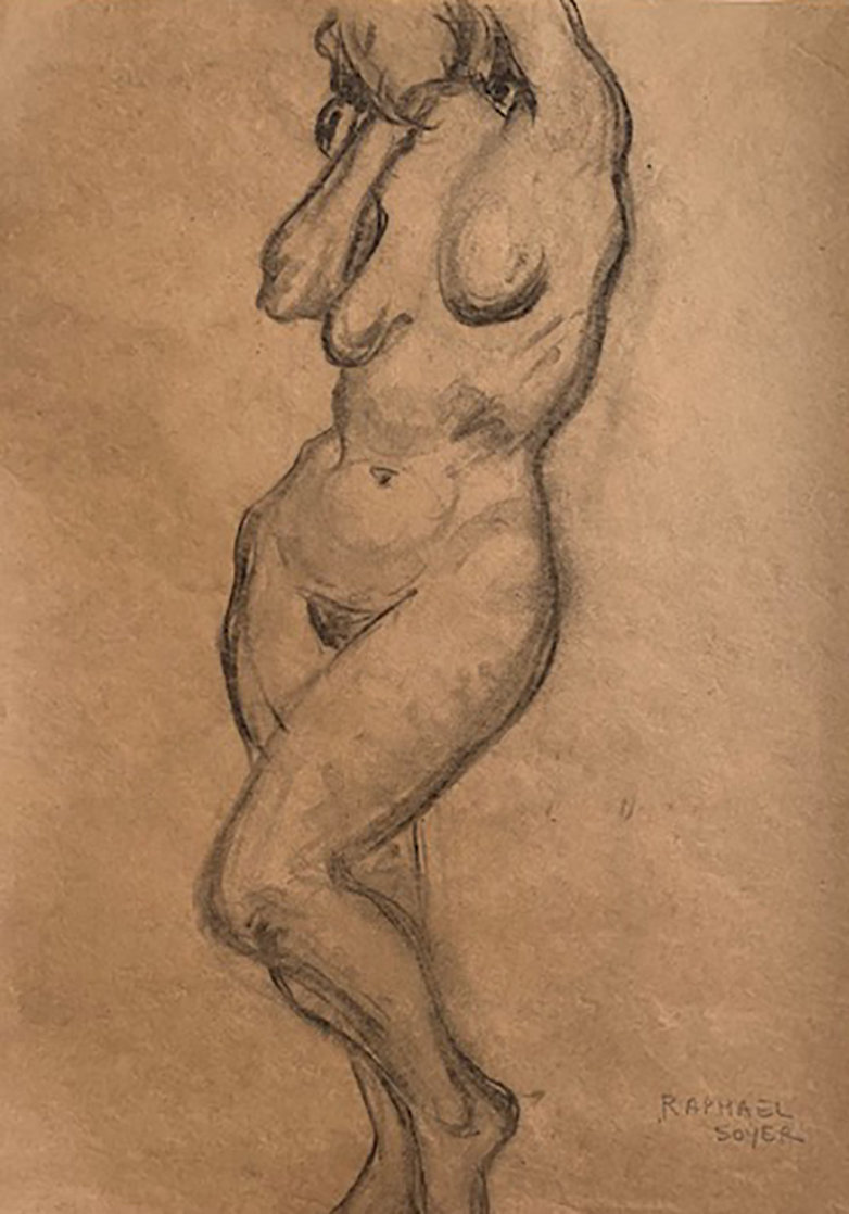 Nude  Drawing From the Artist Sketchbook 1935 24x19 Works on Paper (not prints) by Raphael Soyer