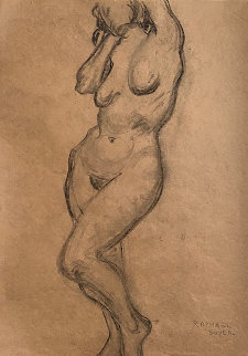 Nude  Drawing From the Artist Sketchbook 1935 24x19 Works on Paper (not prints) - Raphael Soyer