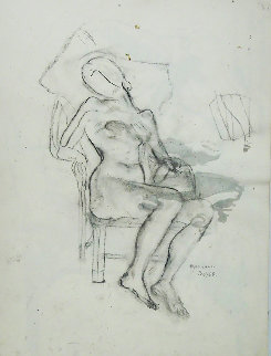 Seated Nude Drawing 1950 18x24 Drawing by Raphael Soyer