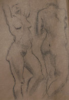 Double Sided Drawing of Nudes 1930 30x25 Drawing by Raphael Soyer - 1