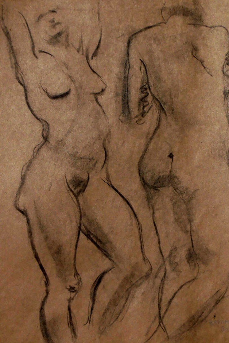 Double Sided Drawing of Nudes 1930 30x25 Drawing by Raphael Soyer
