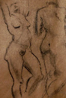 Double Sided Drawing of Nudes 1930 30x25 Drawing by Raphael Soyer - 0