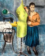 Seamstress I Portfolio 1979 Set of 2 Limited Edition Print by Raphael Soyer - 0